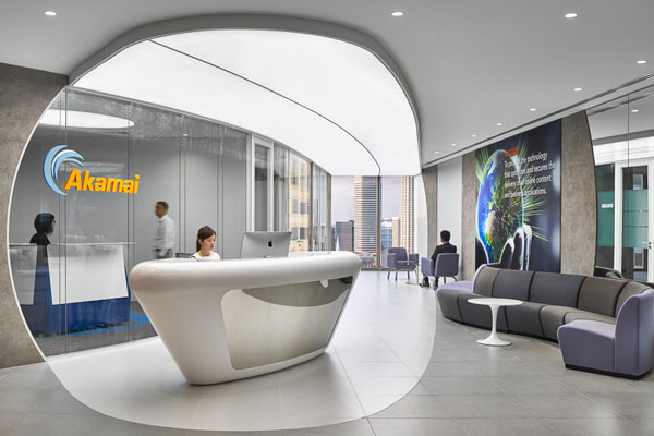 Space matrix designs a trio of offices for akamai for Corporate interior design singapore