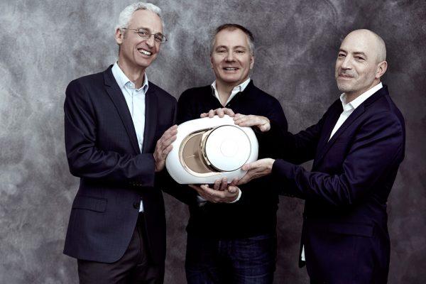 Pierre-Emmanuel Calmel, Quentin Sannié and Emmanuel Nardin with the Devialet Gold Phantom.