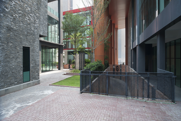 Courtyards and plazas connect the various buildings together