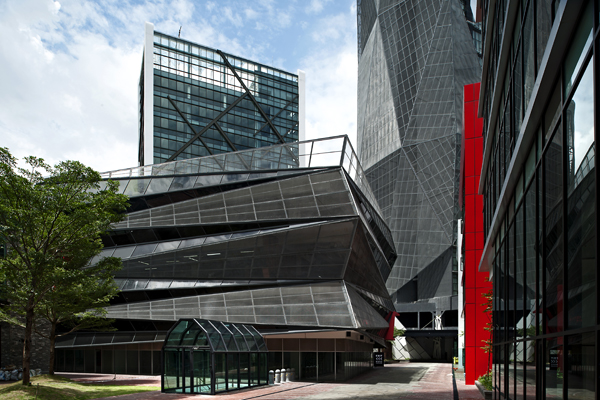 The podium carpark is an architectural landmark in its own right