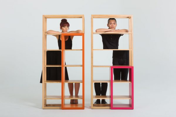 Francesca Lanzavecchia and Hunn Wai with the Gridlock Bookshelf