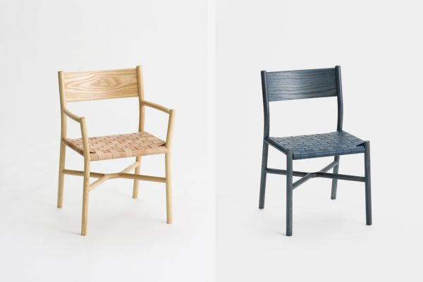 Ariake armchair in natural finish (left) and Ariake chair in indigo finish (right) by Gabriel Tan