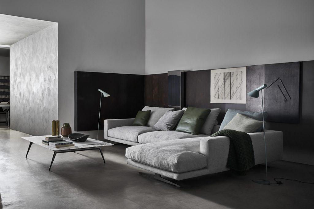 Flexform Campiello Sofa grey styled view