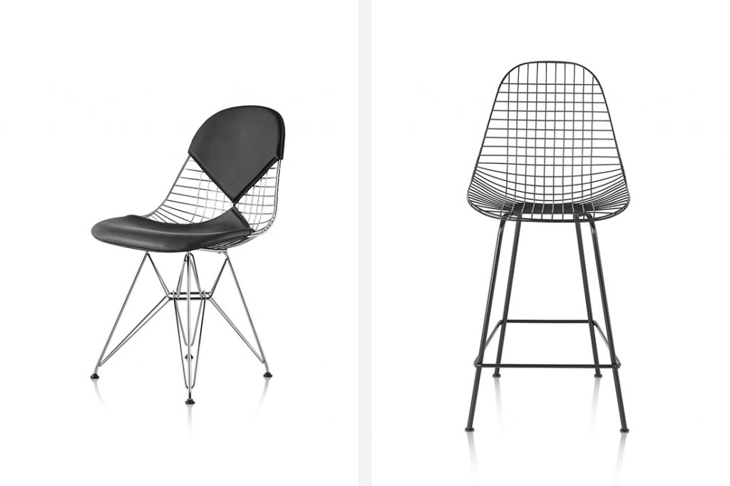 Eames Xtra Herman Miller wire chair and stool