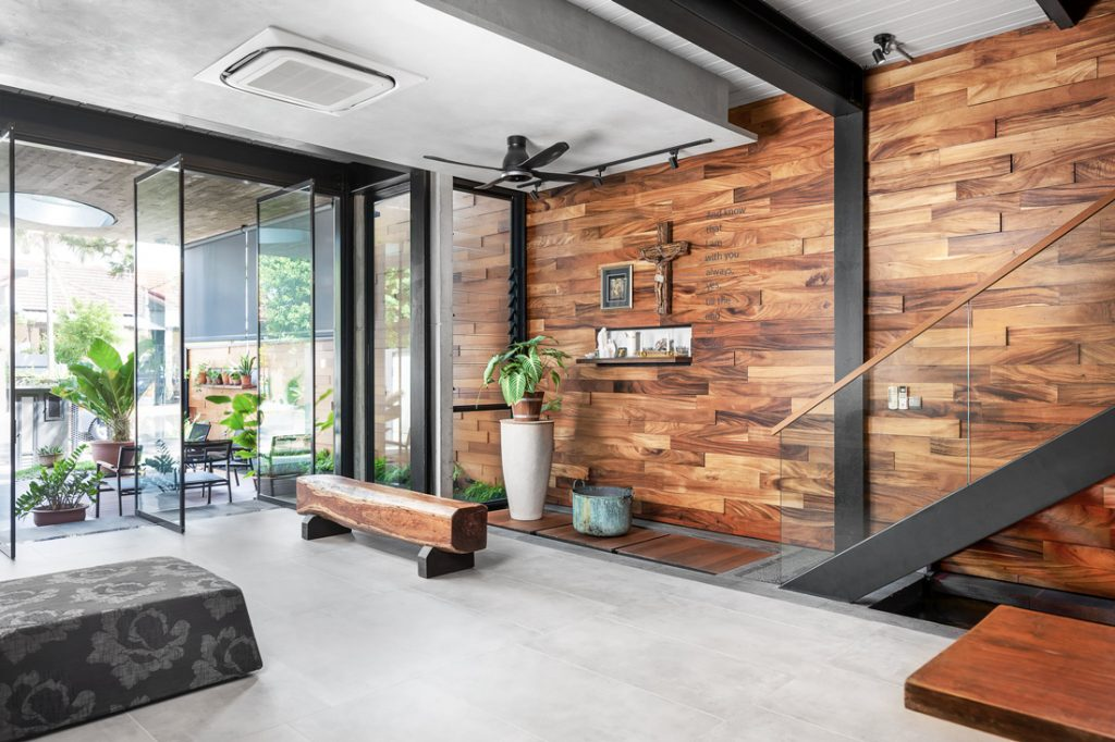 gallery house timber-clad wall