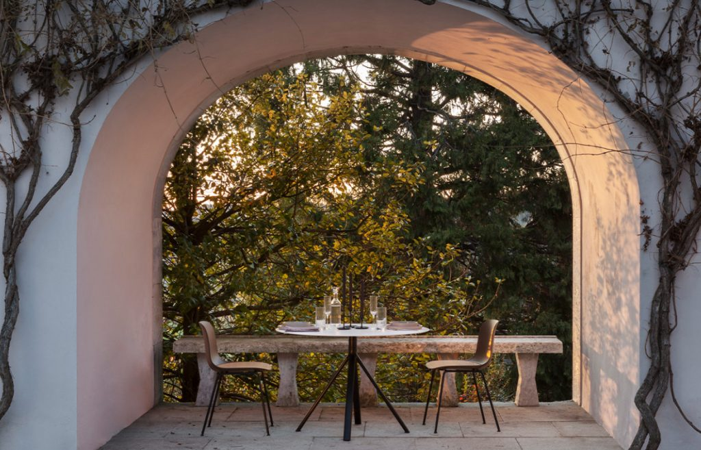 Fork Chairs Outdoor Dining Under Archway