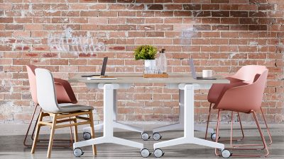 Kissen Conference Office Table with Pink Chairs