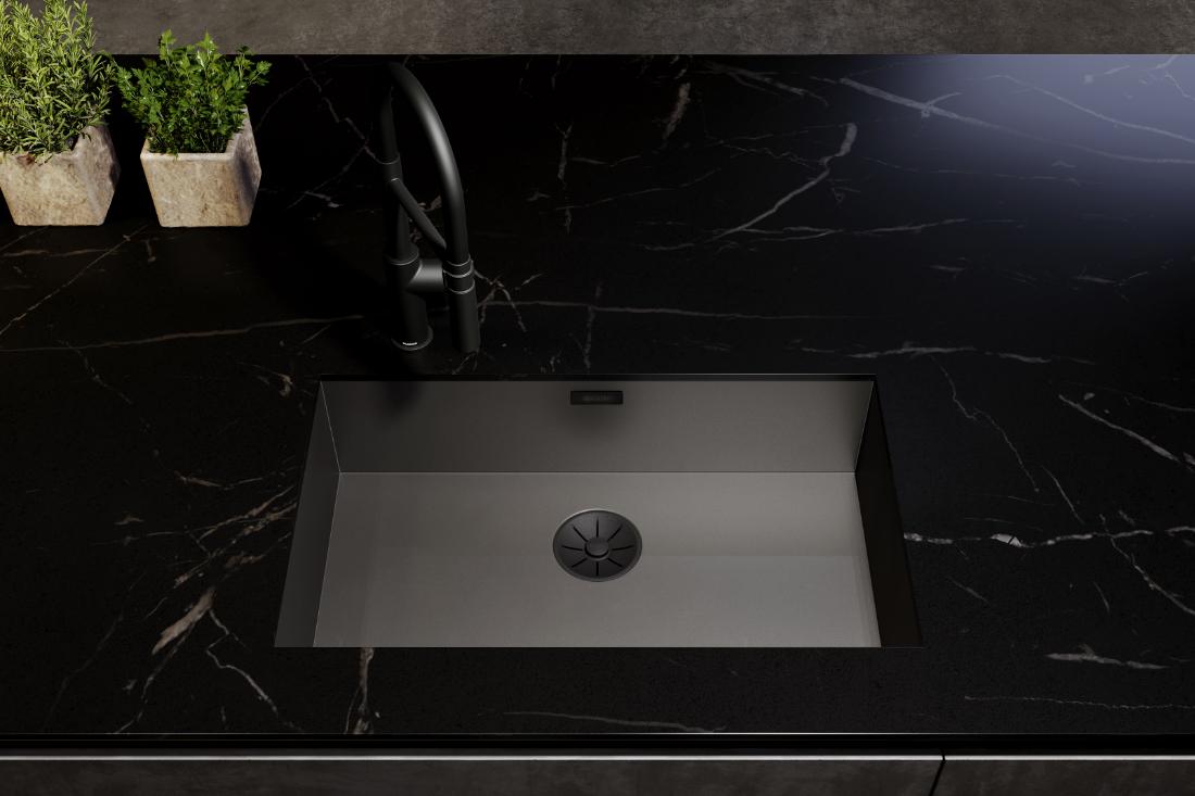 BLANCO-ZEROX-DarkSteel-with-the-black-matt-waste-and-overflow-set
