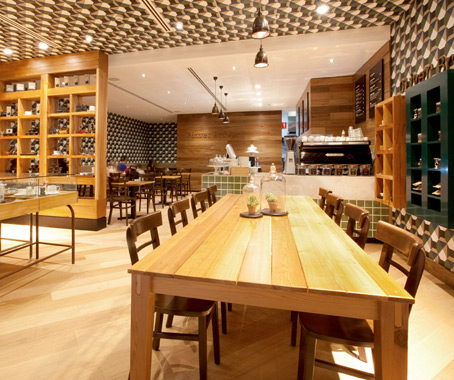 handcrafted chocolates and an inviting ambience sets this caf concept apart from its neighbouring competition and gives oliver brown its design point