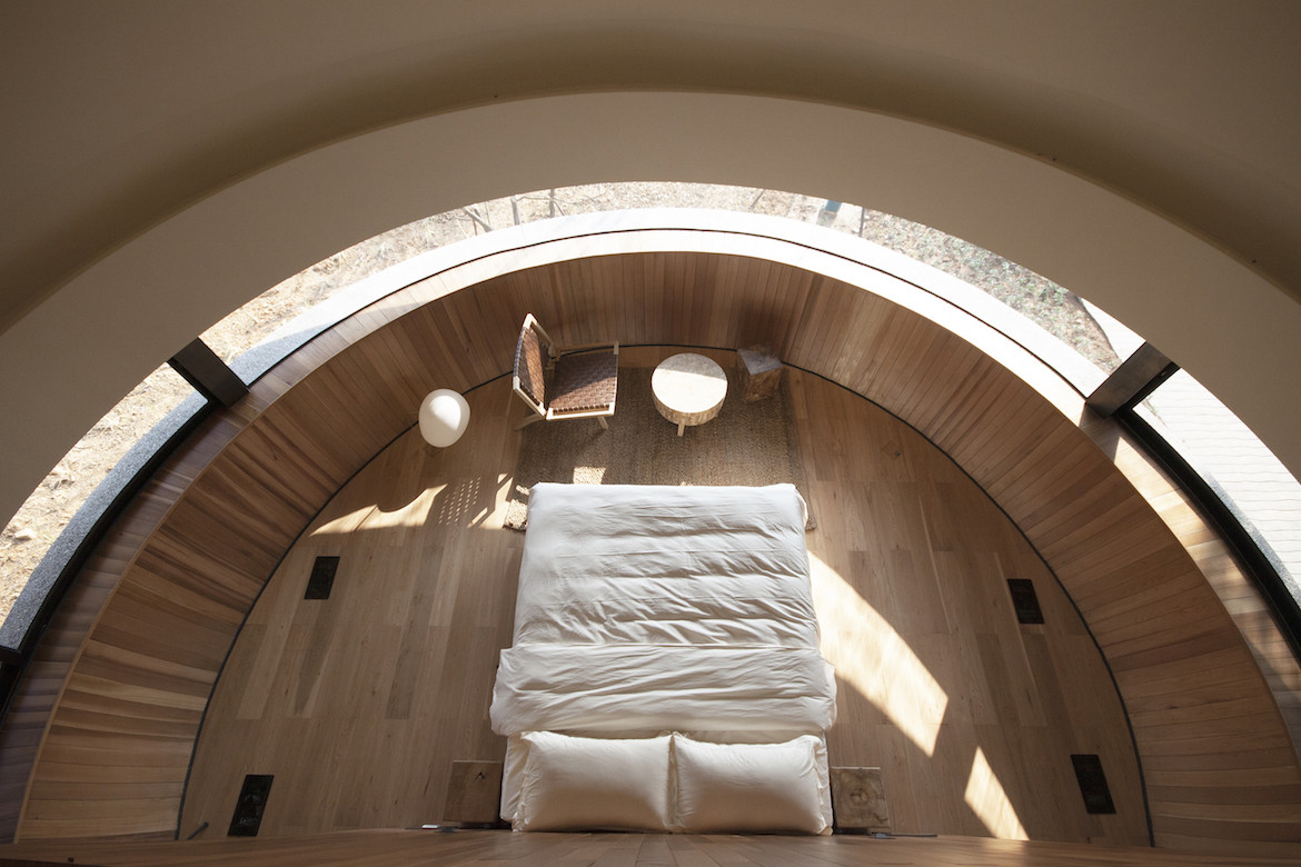 Birds eye view of the interior bed in The Mushroom by ZJJZ