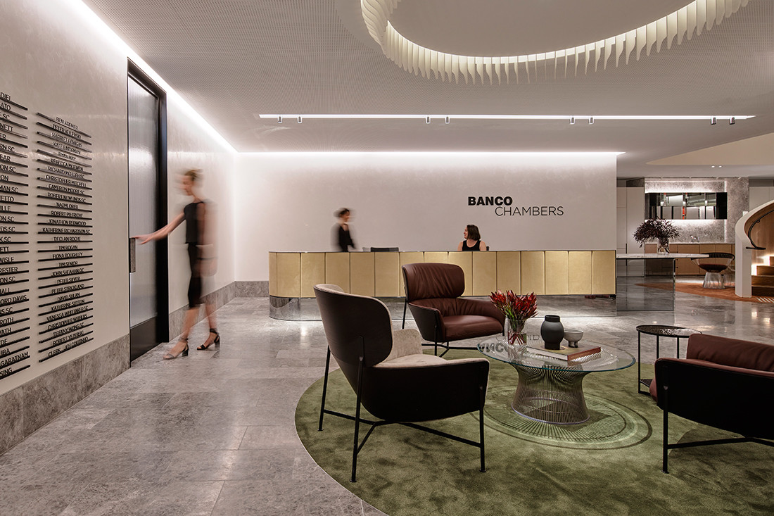 Entrance foyer and reception desk of Banco Chambers Martin Place office fitout, designed by Bates Smart