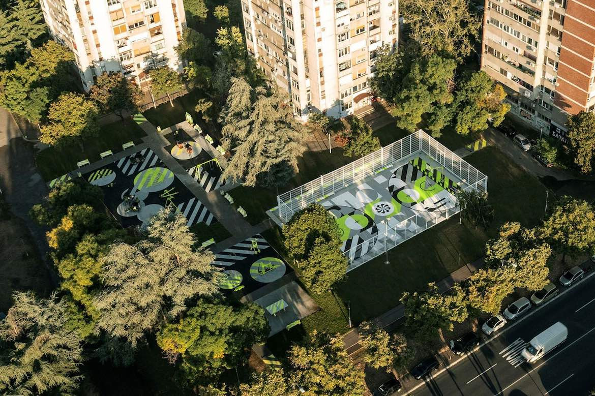Bird's eye view of Nike and Accept & Proceed's recycled Basketball court