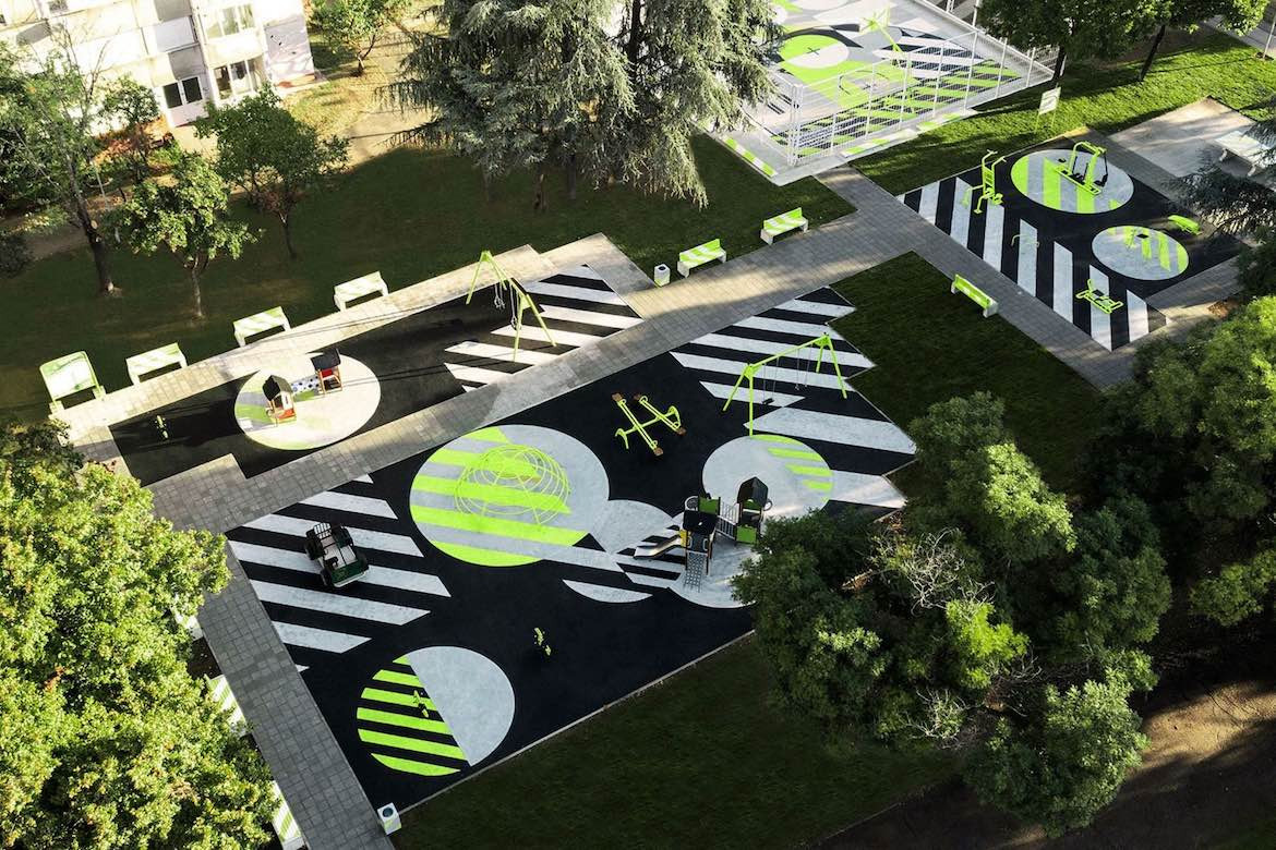 Bird's eye view of Nike and Accept & Proceed's recycled playground