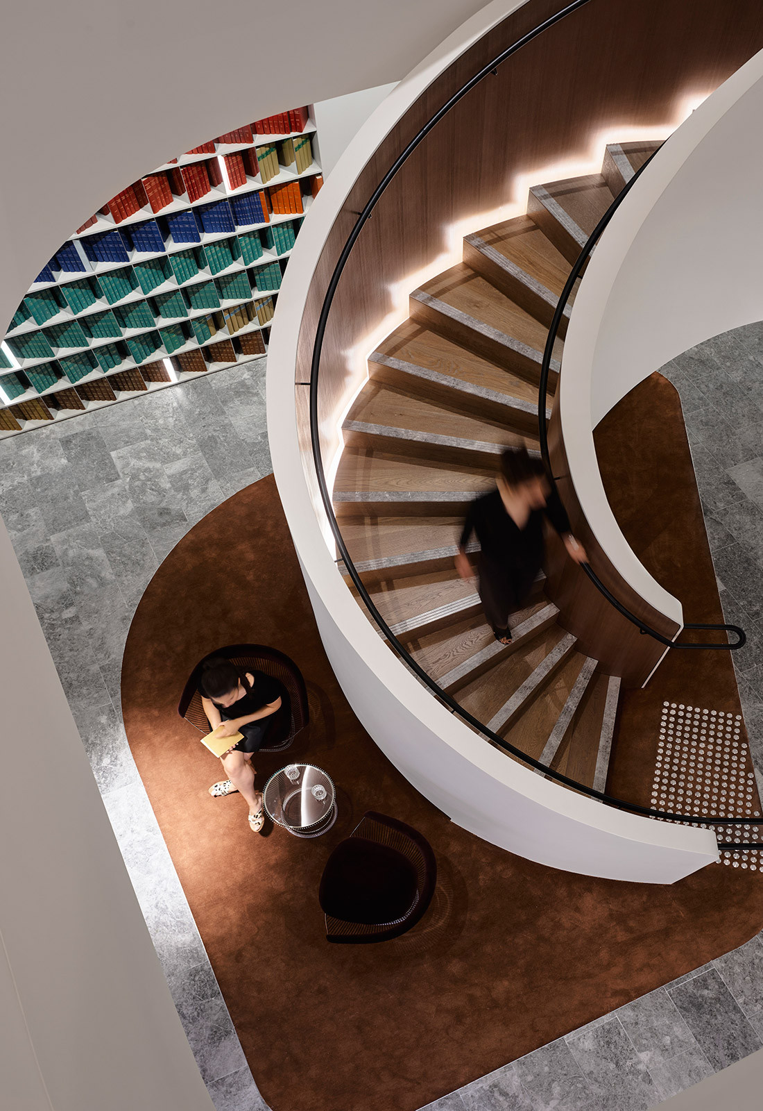 Spiral staircase in Banco Chambers Martin Place office fitout, designed by Bates Smart