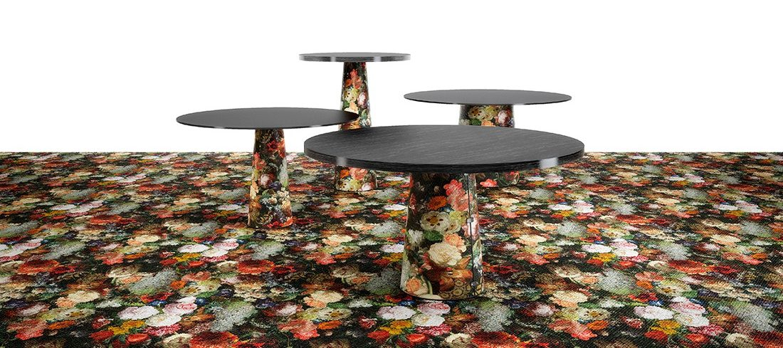 Container table with broadloom carpet by Moooi.