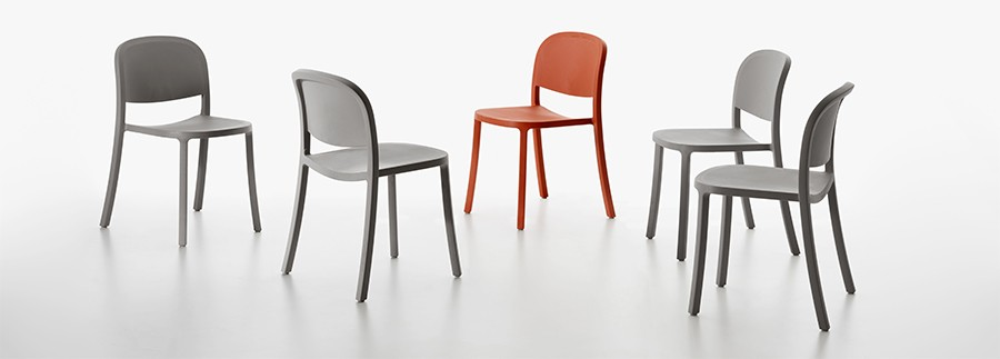 "Emeco's 1"" Reclaimed chair, designed by Jasper Morrison, uses 75 per cent waste polypropylene and 15% per cent waste wood fibre."