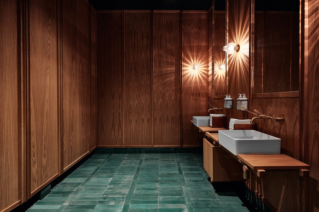 Bathroom in the Matilda restaurant at United Places, designed by Projects of Imagination. Photo by Tim Grey.