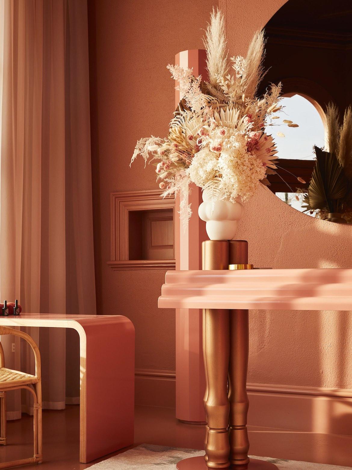 Monochromatic peach colour at Beauty Block.