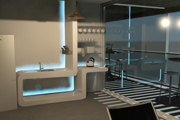 Staron® Kitchenette Unit by Jaimie Klum, student at Billy Blue College of Design