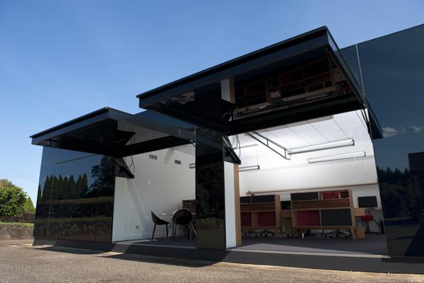 exterior black box open tilt doors Tina Tziallas