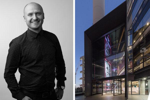 (L) Scott Compton. (R) Award-winning TVNZ Head Quarters in Auckland, by Warren and Mahoney.