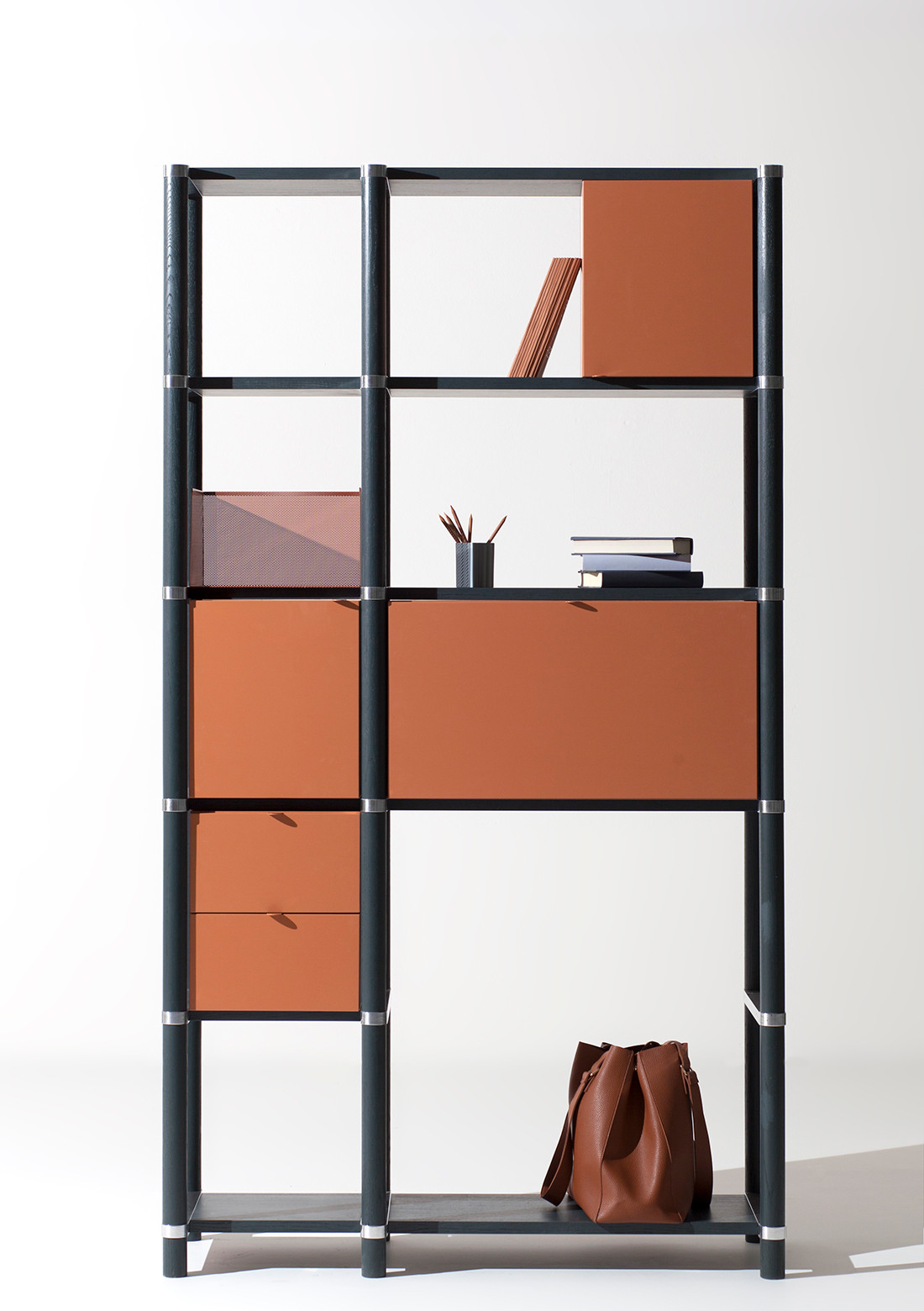 The highly configurable Stem modular bookcase system by Philippe Nigro for Manerba.