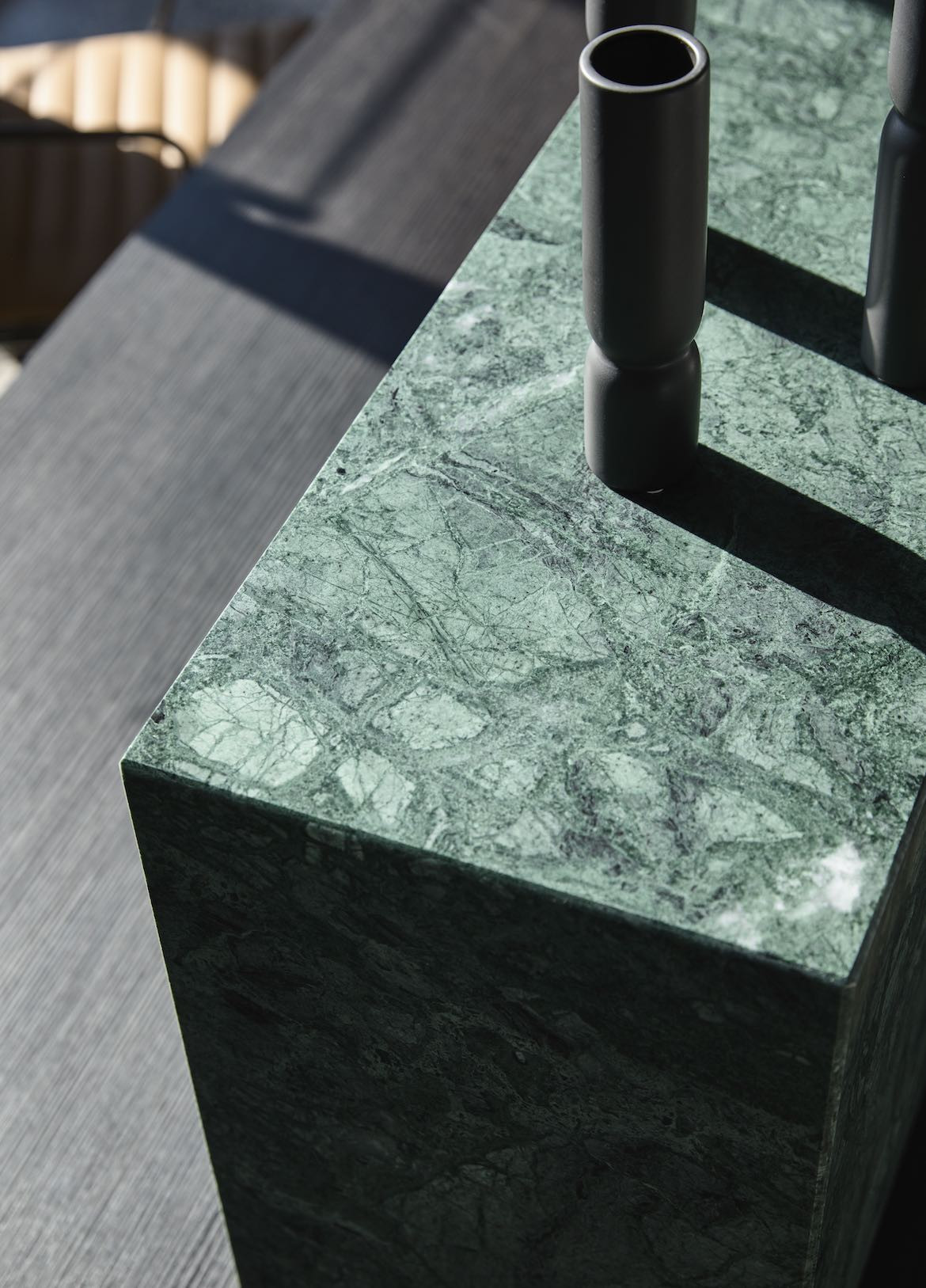 The green stone reception bench in the McCluskey Studio and SJB designed medical practice.
