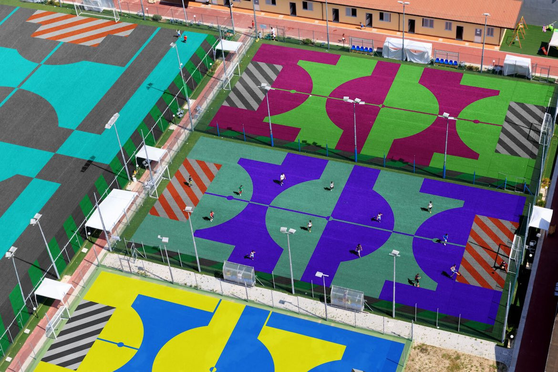 Bird's eye view of Accept & Proceed's football fields