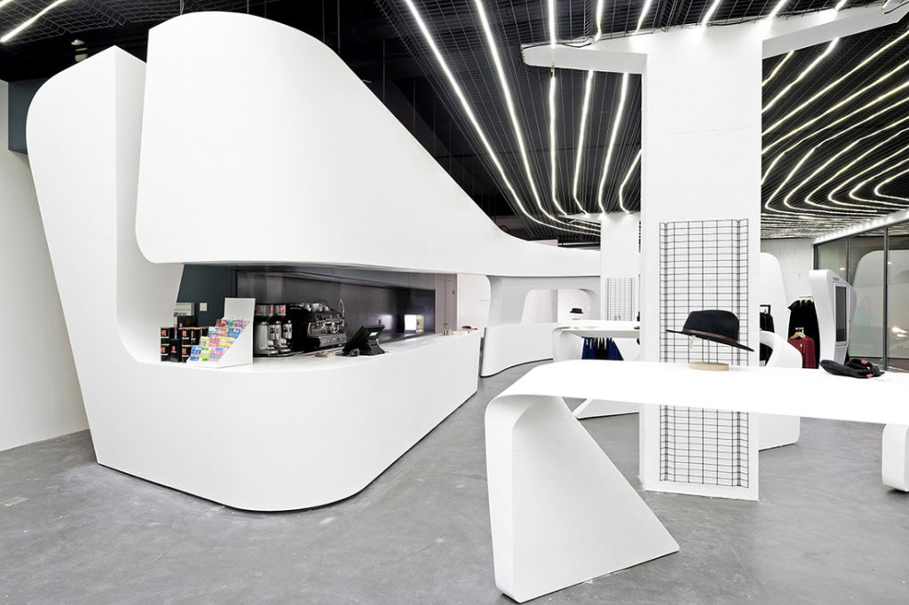 Staron® in Quasar White is used extensively in the fit-out of heidi.com, in Switzerland, by Zaha Hadid