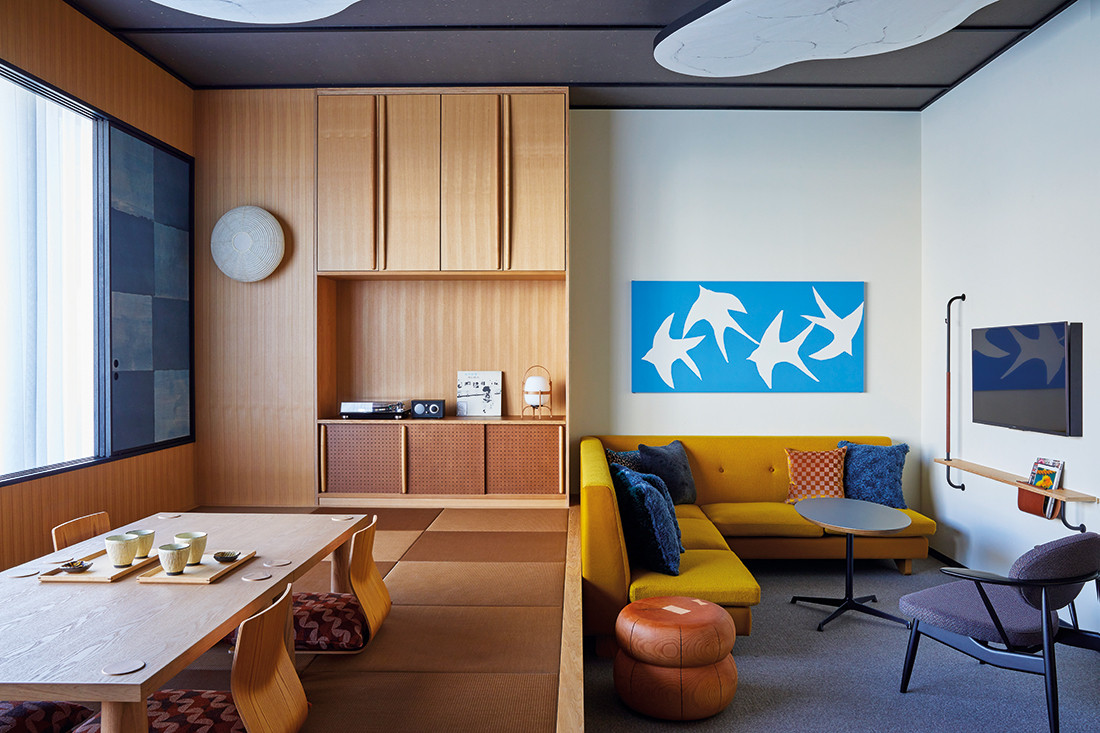 Rooms such as the Tatami Suite at the Ace Hotel Kyoto put a modern spin on traditional Japanese elements, many of which were created in collaboration with well-known Japanese creatives. Photo by Yoshihiro Makino.