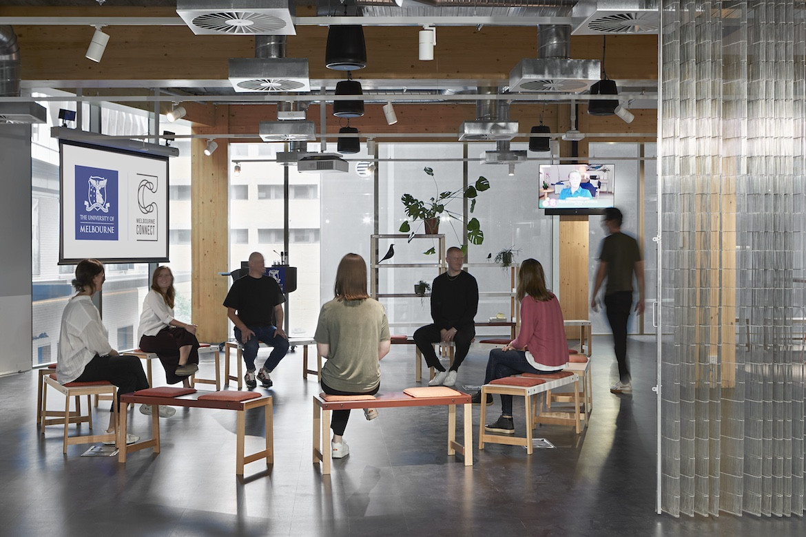 A group meeting in the Architectus' Melbourne Entrepreneurial Centre office