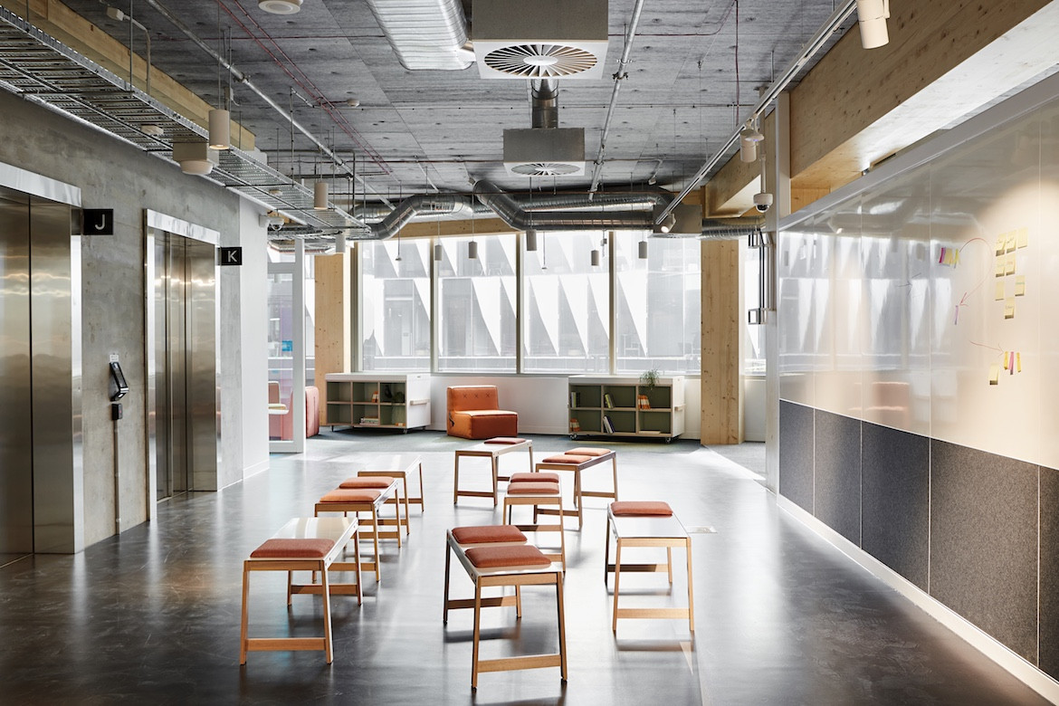 Moveable seating in Architectus' Melbourne Entrepreneurial Centre office