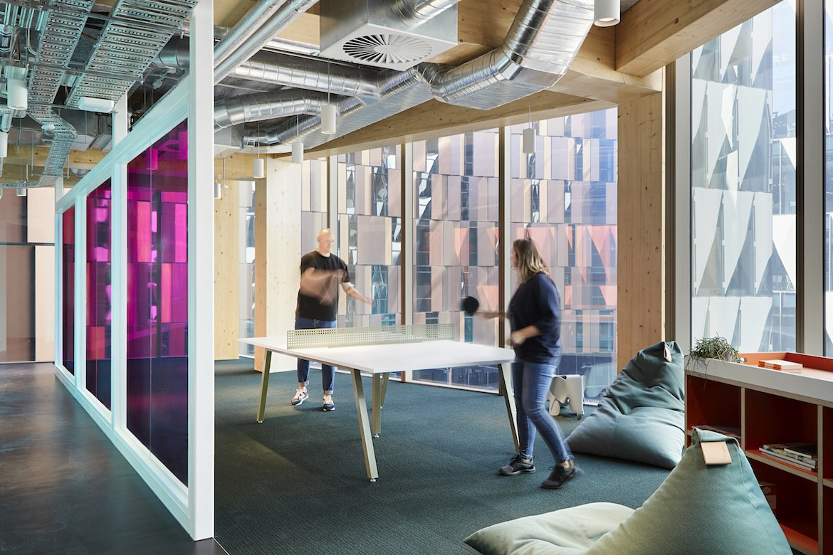 A ping pong table in the Architectus' Melbourne Entrepreneurial Centre office