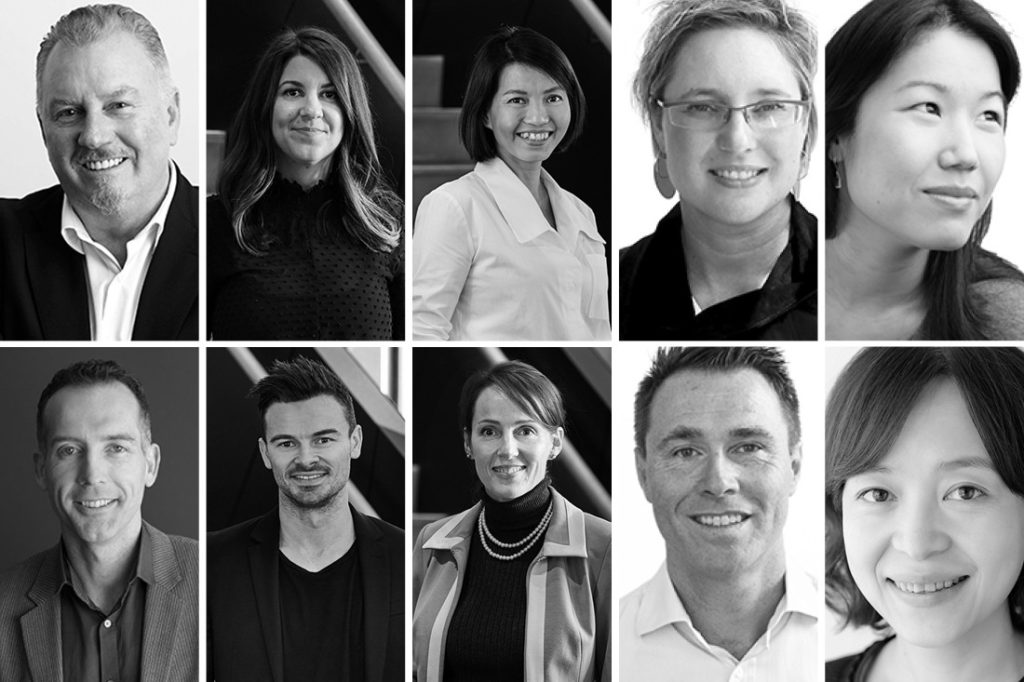 Clockwise from top left: Mark Mitcheson-Low (Architectus), Simone Tyson (DKO), Thanh Nguyen (DKO), Larisa Moran (Woods Bagot), Eva Sue (Woods Bagot), Vivian Yu (Woods Bagot), Peter White (Woods Bagot), Ursula Gouws (DKO), Dominic Gaetani (DKO) and Duncan Betts (Rothelowman).