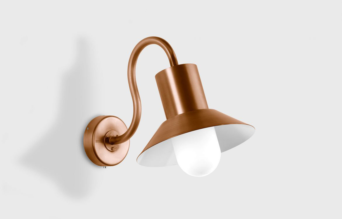 Outdoor Wall Luminaire Rose Gold Detailing White Wall