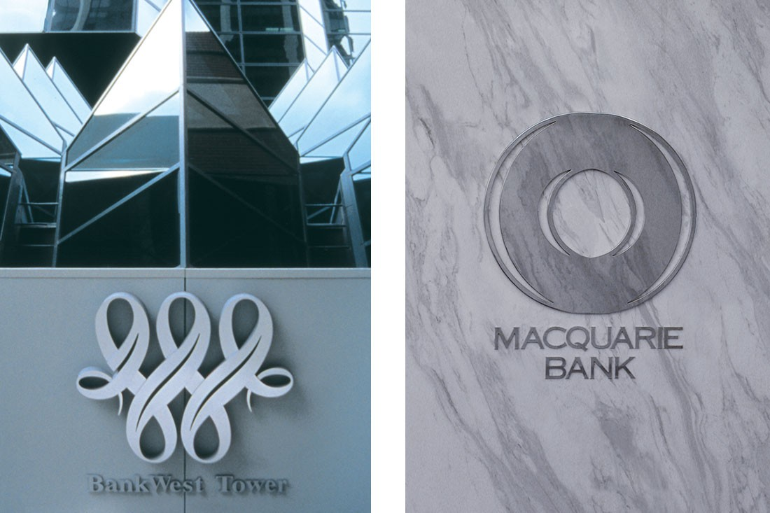 (L-R) Bank West logo and Macquarie Bank.