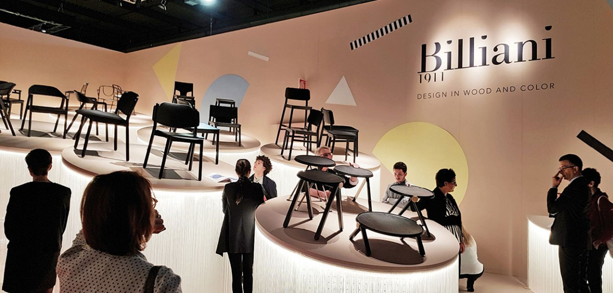Billiani's stand was all about the versatility of a timber chair – and even positioned all the product on podiums.