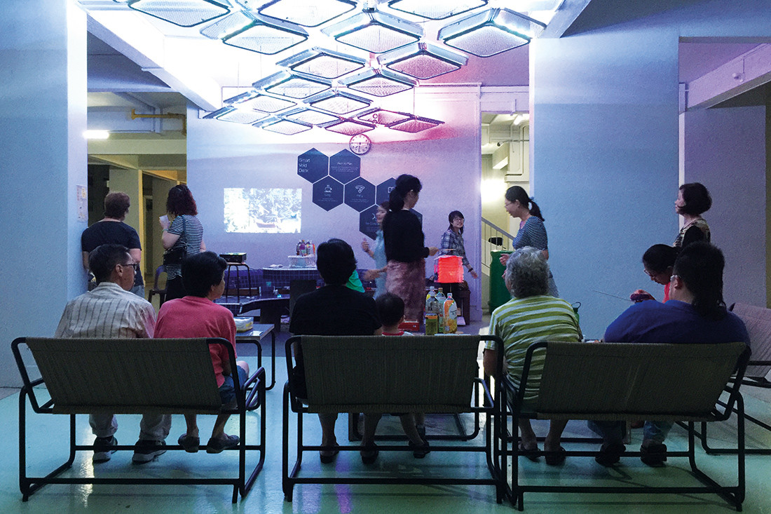 The Smart Void Deck by COLOURS was a public place prototype for HDB Greenprint that integrates mobile furniture, computer vision and smart lighting into an HDB void deck to encourage community bonding.