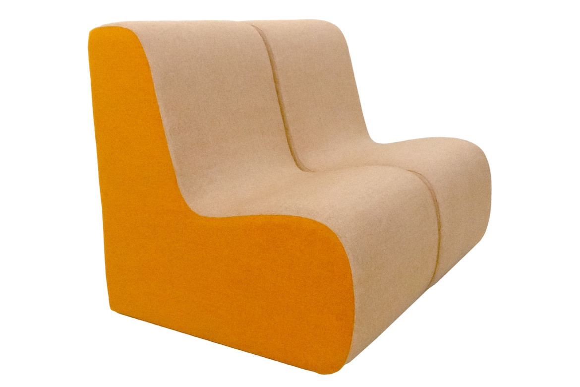 Two Curve Lounge chairs with light orange upholstery on the top and bright orange upholstery on the sides on a white background.