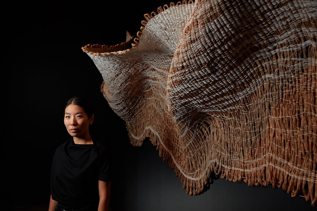 Designer Mimi Jung inside Design Storytellers: The Work of Broached Commissions exhibition space, at NGV Australia. Photo: Sean Fennessy.