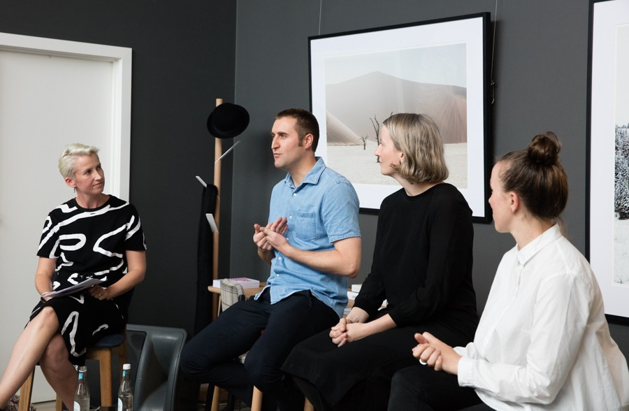 """Indesign magazine editor Alice Blackwood (far left) moderating a talk on """"How to lead by design? Opportunities to create change in the industry"""". (L-R) Alice Blackwood, Peter Knights of Taylor Knights, Monique Woodward of WOWOWA and Anja de Spa of Molecule."""