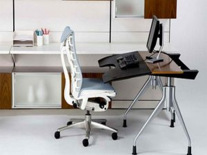 Ergonomic white chair and desk essentials