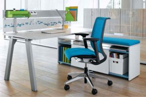 Ergonomic blue chair and desk essentials