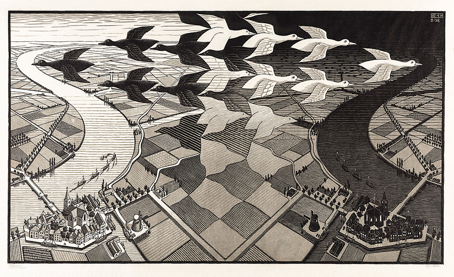 M. C. Escher: Day and night February 1938, woodcut, printed in grey and black inks Escher Collection, Gemeentemuseum Den Haag, The Hague, the Netherlands © The M. C. Escher Company, the Netherlands. All rights reserved.
