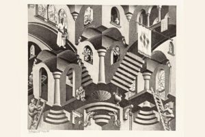 M. C. Escher: Convex and concave March 1955, lithograph. Escher Collection, Gemeentemuseum Den Haag, The Hague, the Netherlands © The M. C. Escher Company, the Netherlands. All rights reserved.