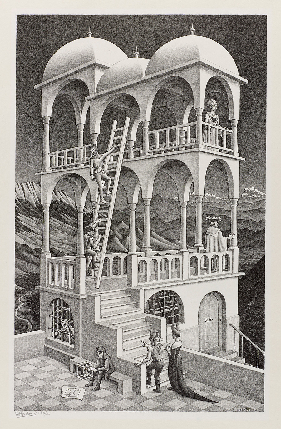 M. C. Escher: Belvedere May 1958, lithograph. Escher Collection, Gemeentemuseum Den Haag, The Hague, the Netherlands © The M. C. Escher Company, the Netherlands. All rights reserved.