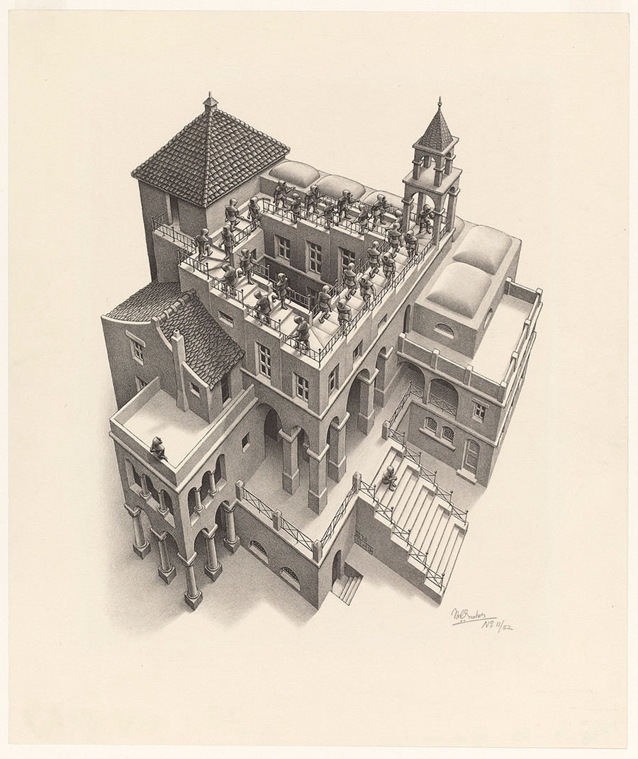 M. C. Escher: Ascending and descending March 1960, lithograph. Escher Collection, Gemeentemuseum Den Haag, The Hague, the Netherlands © The M. C. Escher Company, the Netherlands. All rights reserved.