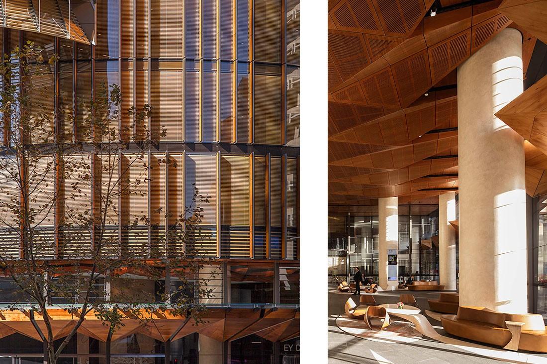 The façade of the building designed by fjmt is hi-tech. Photos L-R: Owen Sharp, Brett Boardman.