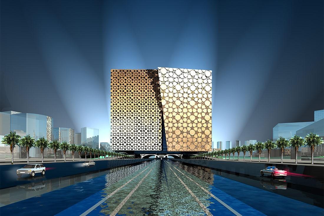 Dubai Cube unbuilt project by Fender Katsalidis. Render by FK.