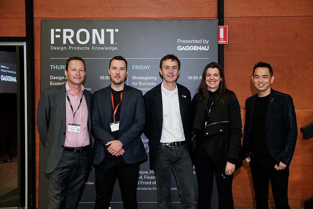 Design as Ecosystem, with presenters (L-R) Andrew Pettifer (ARUP), Ashley Dennis (Crone Architects), Max Thomson (Spitfire Control & moderator), Simone Oliver (Architectus) and Koichi Takada (Koichi Takada Architects).